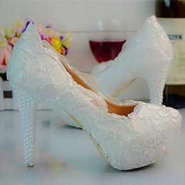 Wholesale Prom Shoes Size 11 - White Color Lace Flower Platform High Heels Bridal Wedding Party Shoes Women Party Prom Shoes Plus Size 11 12 Bridesmaid Shoes