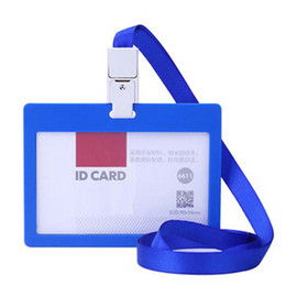 Wholesale Business Card Company - 10 Pcs lot Business ID Badge Card Holder Horizontal Card Storage Company School Office Exhibition Lanyard Papelaria