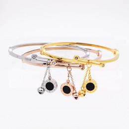 Wholesale Two Sided Bracelet - Roman Letter two-sided Shell Pendant With Bells Female Bracelets & Bangles Fashion Jewelry Design Women Stainless Steel Bracelet