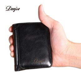 Wholesale Trifold Men Wallet - DANJUE new trifold wallets men luxury genuine cow leather brand man purse vintage short big capacity business designer money bag