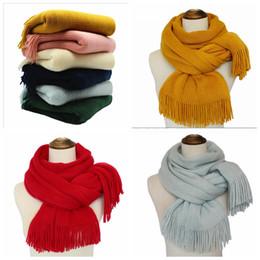 Wholesale Korea Scarf - Spring autumn winter shawls Pure color tassel scarf Women's magic wraps Cotton flannelette Korea style 180*45cm YYA673