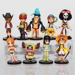 Wholesale nami pvc figure - 9Pcs Set Anime One Piece Mini Luffy Roronoa Zoro Sanji Chopper Franky Nami Figure Toys PVC Dolls Great Gift