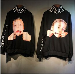 Wholesale Children S Pullover Hoodies - Lovers Turtleneck Black Hoodies American Fashion Brand Child Ugly Face Printed Pullover Sweatshirts Men Women's Popular Hoodies