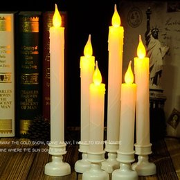 Wholesale Flameless Candle Inch - Battery Operated Flameless Flickering LED Taper Candles light 8 10 12 inch for wedding party home Church Xmas decor