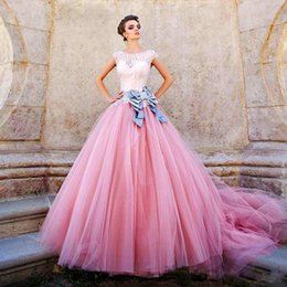 Wholesale Sweets Scoop - 2017 Pink Ball Gown Prom Dresses Beaded Bodice Cap Sleeves Satin Tulle Ball Gown Sweet Sixteen Dresses Masquerade Ball Gowns