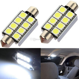 Wholesale Universal Car Side Lamps - LED Car Lamp Interior Dome Light 12V 41mm 8 SMD 5050 Pure White Festoon Map Car Bulbs