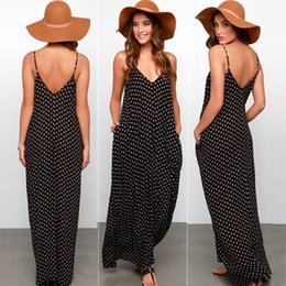 Wholesale Summer Sleeveless Polka Dot Dress - 2016 Summer Boho Sleeveless spaghetti strap women Maxi Dress loose white dot elegant sexy V-neck casual Black beach dresses