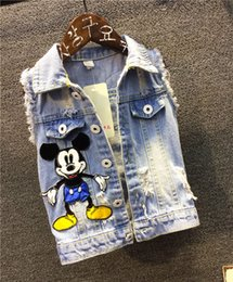 Wholesale Boys 3t Summer - Wholesale-Super Cool Boys Cartoon Denim Vest Waistcoat Children's Summer Autumn Clothing Alternative Mathing T-Shirt And Jeans