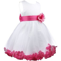 Wholesale Darling Dresses - Princess Dress for Baby Toddler Kid Girls Summer Sleeveelss Darling Petals Bowknot Flower Dresses Wedding Party Clothing