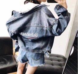 Wholesale Man S Jean Coat - Men Jean Jackets 2017 Paris Embroidery Denim Jacket Women Single Breasted Coat Pocket For Jeans Jacket Women Long Sleeve Denim Jacket Ladies