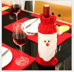 Wholesale Trading Bottles - Foreign trade new Christmas gift machine embroidery old red wine bottle of champagne restaurant creative decorations non-woven bag