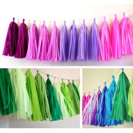 "Discount diy pc - 35cm Tissue Garlands Bunting Ballroom Paper Tassels DIY Wedding Birthday Baby Party Decor 14"" 50 pcs lot"