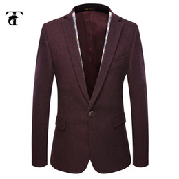 Wholesale Tuxedo Wine - Wholesale-2016 high quality Wedding suits wine red men's blazer tailored male tuxedo woolen fashion man suits