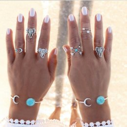 Wholesale Vintage Elephant Ring - Bohemian Style 6pcs set Vintage Anti Silver Color Rings turquoise Elephant Cross Moon Rings Set for women ZL