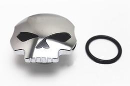 Tapa de combustible de cromo online-Cromado negro cráneo tapa del tanque de combustible de la motocicleta para Harley Sportster Dyna Softail FXD FL XL FLT