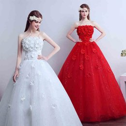 Wholesale Free Princess Pictures - Hot Sales Sexy Strapless A-Line Wedding Dresses Bridal Gown Lace-up Floor-length Princess Women Dresses Fashion Flowers Free Shipping