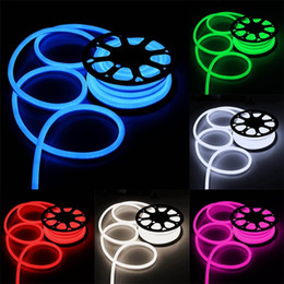 Wholesale Neon Lights Decorating - 100m rope led lights SMD2835 120 LED 110v 120v Flexible Neon Stripe Light Cool White Decor Lighting outdoor led light xmas decorating