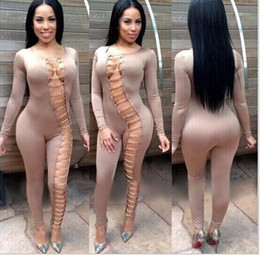 Wholesale Khaki Jumpsuits - 2016 autumn and winter explosion models in Europe and America sexy nightclub Slim long-sleeved jumpsuit metal buckle bandage dress women
