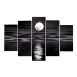 Wholesale Canvas Full Moon - 100% Hand Painted Oil Paintings Full Moon On The Sea Deep Night 5 Panels Wood Framed For Living Room Art Work Home Decoration