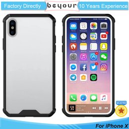 Wholesale Iphone Armour - For iPhone x 8 8 PLus Case Transparent ShockProof Armour Soft TPU Acrylic Simple Style Anti-Scratch Clear Cell Phone Back Cases