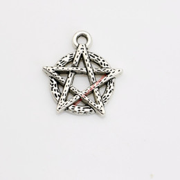 silver pentacle bracelet Coupons - 20pcs Antique Silver Plated Pentacle Charm Pendants for Bracelet Necklace Jewelry Making DIY Handmade Craft 19x18mm