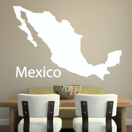 Wholesale Cheapest Home Decor - Cheapest Simple Outline Mexico Map Wall Decal Vinyl Customized Colors Adhesive Home Decor Wall Sticker