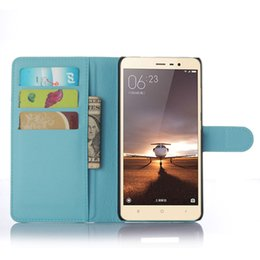 Wholesale Xiaomi Flip Cover - Free Shipping for Redmi Note 3 PU Leather Case Stand Wallet Flip Mobile Phone Case Cover For Xiaomi Redmi Note 3 With Card Slots
