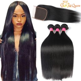 Wholesale Indian Weft Closures - 8A Brazilian Straight Human Hair Bundles with closure Brazilian Virgin Hair With 4x4 Closure Peruvian Malaysian Indian Hair Bundles