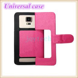 Wholesale Litchi Stria Leather Case - Universal cell phone case flip cover high quality soft litchi stria TPU leather & silicone wallet case with S M L XL XXL size for all phones