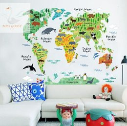 Wholesale Room Murals - colorful animal world map wall stickers for kids rooms living room home decorations pvc decal mural art 037 diy office wall art