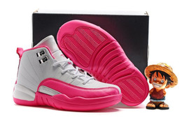 Wholesale Rubber Dynamics - (New In Box)Free Shiping Cheap Children Athletic Retro Boys And Girls Dynamic Pink Valentines 12 XII Sneakers Kids Basketball Shoes