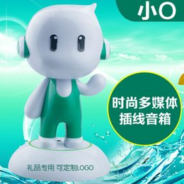 Wholesale Computer Dolls - Small gift O mobile computer speakers O 2.0 phone doll mini bluetooth speaker plug wire speakers