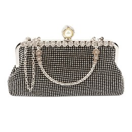 Wholesale Wholesale Bridesmaids Purses - Fashion Rhinestone Elegant Evening Bags Handbag Clutch Ladies Purse Bride Bridesmaid Wedding Bags Silver Golden Crossbody Bags 8037