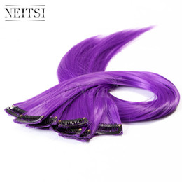 Wholesale Purple Highlights - Neitsi 18'' 10pcs lot ±80g Purple# Straight Synthetic Clip in Hair Extensions Fashion Colored Synthetic Hair Pieces Highlight Extensions