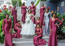 Wholesale Girls Hot Pink Bridesmaid Dresses - Long Sleeves Lace African Black Girls Long Bridesmaids Dresses Cheap 2016 Hot Plus Size V Neck Maid of Honor Gowns Wedding Guests Wear