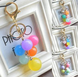 candy ball decorations Promo Codes - Cute Candy Color Balls Keychain Beads Pendant Key Ring Creative Car Hang Decoration Women Bag Accessories Car Key Chain B788Q