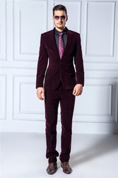 Wholesale Groom Suit Popular - Wholesale-Popular Style One Button Velvet Groom Tuxedos Groomsmen Men's Wedding Prom Suits Bridegroom (Jacket+Pants) K:1143