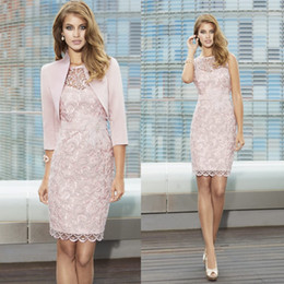 a09c5e7f03a New Full Lace Mother Of The Bride Gowns Sheer Jewel Neck Knee Length  Cocktail Dress For Wedding Mother Groom Dresses With Jacket