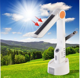 Wholesale Solar Dynamo Charger Flashlight - Original XLN-609 Solar Power Multifunctional Desk Lamp Handed Crank Dynamo FM Radio with LED Flashlight and Smartphone Charger XLN 609 Light
