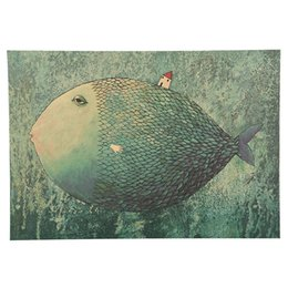 Wholesale Fish Poster - 1 PCS Vintage Big Fish Small House Cartoon Illustration Kraft Paper Poster Bedroom Adornment Wall Sticker