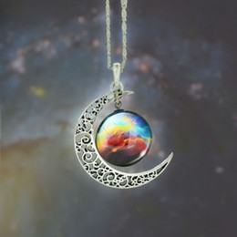 Wholesale Swarovski Necklace Designs - Crescent Necklace Starry Moon Outer Space Chain Silver Gemstone Pendant Jewelry Swarovski Mix Models 12 Design