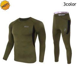 Wholesale Long Underwear Mens - Outdoor Winter Thermal Mens Underwear Tactical Sport Fleece Warm Clothes Pullover Long Sleeve Military Quick-drying Corsets Men