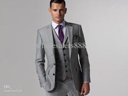 Wholesale Charcoal Suit Silver Tie - Slim Fit Custom Made Groom Tuxedos Peak Lapel Best man Suit Charcoal Grey Groomsman Wedding Men's Suits Bridegroom (Jacket+Pants+Tie+Vest)