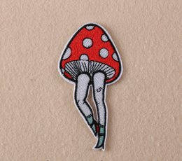 Wholesale Wholesale Leg Irons - Hot ! 20pcs lot New Beautiful Mushroom Legs Pattern embroidered patches for sewing Bag clothing patches iron on sewing accessories applique