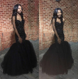 Wholesale Sweetheart Mermaid Flower Girl Dress - 2016 New Sexy African Black Girls Long Mermaid Prom Dresses Sweetheart Black Tulle Crystal Beaded Party Dress Plus Size Formal Evening Gowns
