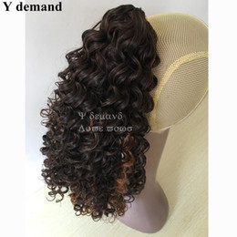 Wholesale Long Wavy Ponytail - Cool Hair Accessories Extensions Women's Long Brown Wavy Curly Claw afro Kinky Ponytail Drawstring Hot For Black Women Y demand