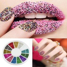 Wholesale Nail Decoration Steel - Hot 3D Acrylic Nail Art Tips 12 Color Fashion Steels Beads Studs DIY Nail Decoration Glitter Rhinestones Wheel Beauty Nails Tools