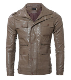 Wholesale Camel Coat Lapel - 2016 new arrive pu leather jacket slim men's coats Multi-button men's Outerwear Camel 4762