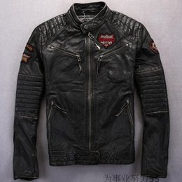 Wholesale Genuine Leather Jacket Men Brown - Stand collar Affliction men leather jackets skull head Embroidery American customs genuine leather motorcycle suits