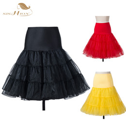 Wholesale White Pettiskirt Women - Wholesale-Tutu Skirt Silps Swing Rockabilly Petticoat Underskirt Crinoline Fluffy Pettiskirt for Wedding Bridal Retro Vintage Women Gown